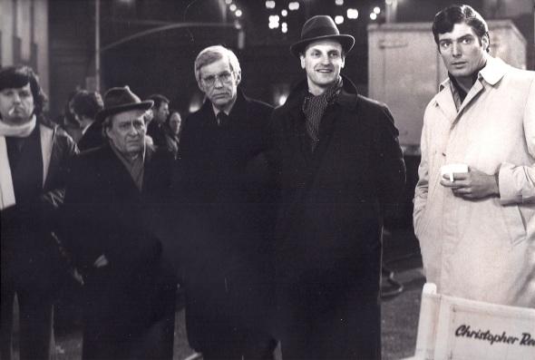 Foto Ilya Salkind- Alexander Salkind- Pieter de Jong- Frans Afman - Christopher Reeve