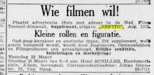 Advertentie Nefito in De Telegraaf, 1935